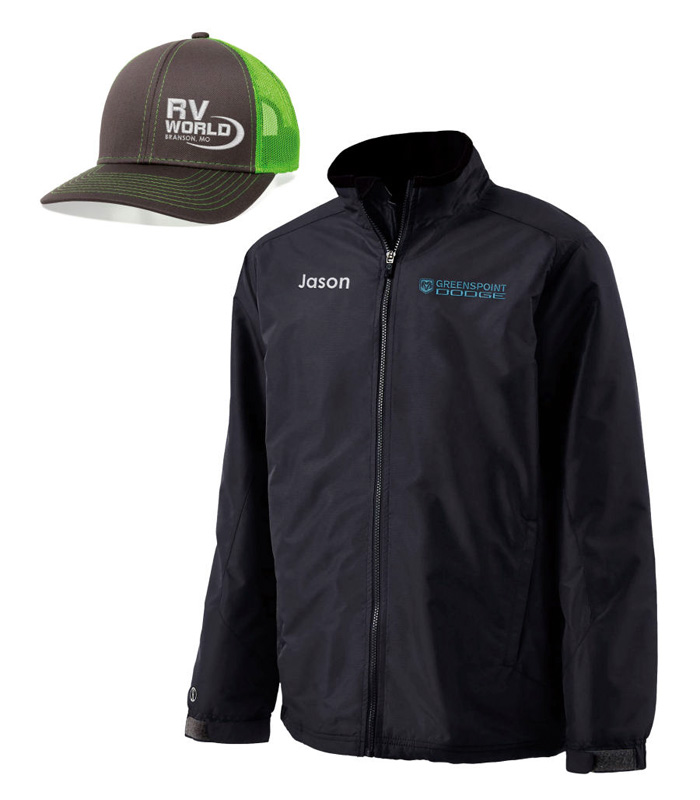Embroidered caps and jackets with your logo