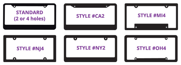 Dealership license plate ad frame shapes